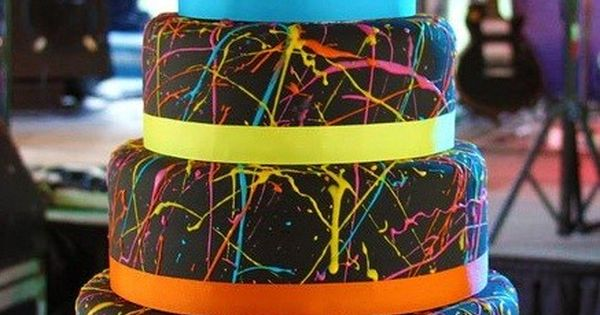 80s cake or splatter paint cake!