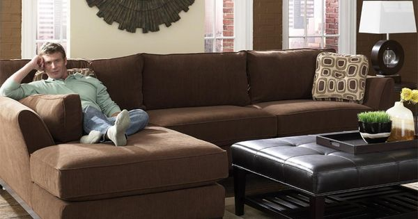 Modern Brown 2 Piece Lazy Boy Sectional With Chaise For