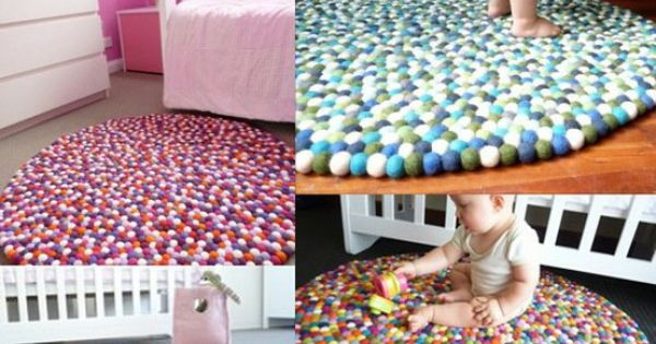 DIY felt ball rug- Like a happy ball pit.