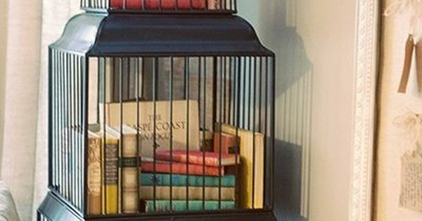 repurposed as a bookcase cage d oiseau pinterest birdcages bookcases and repurposed. Black Bedroom Furniture Sets. Home Design Ideas