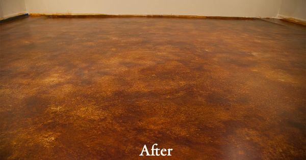 acid stain basement remodel