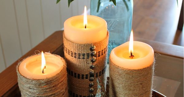Beach House Twine-Wrapped Candles - this is easy and doable.