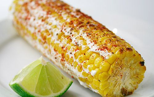 Mexican Grilled Corn and Crema ~ Grill the husked corn, drizzle it