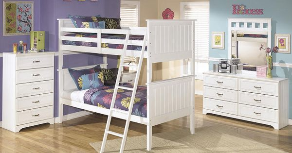 Milan white twin over twin bunk bed girly girls for Furniture 123 moline