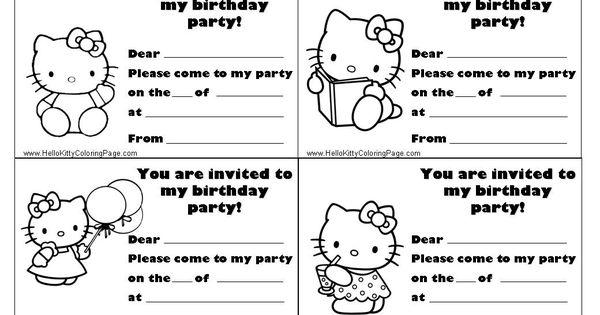 Invite Template Hello Kitty Party Pinterest Kitty