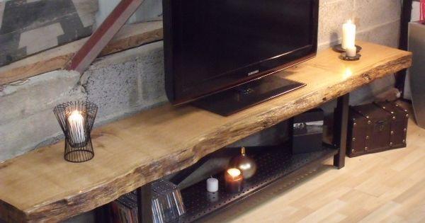 Meuble Tv Bois Massif M 233 Tal Bois Style Industriel Metals