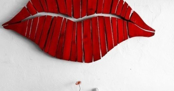 Wall Decor Red Lips Art I Heart Pinterest Lips And