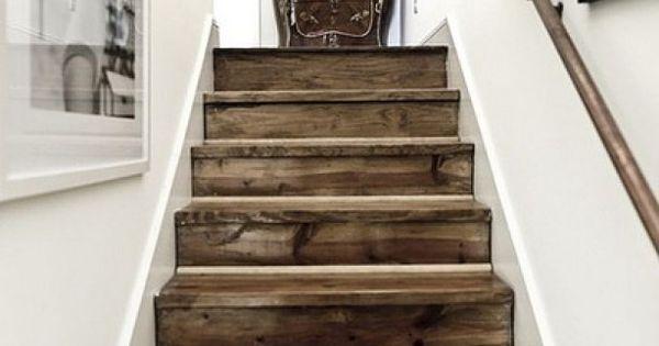 Trap van verweerd hout trappen stairs pinterest verweerd hout hout en trappen - Trap ijzer smeden en hout ...