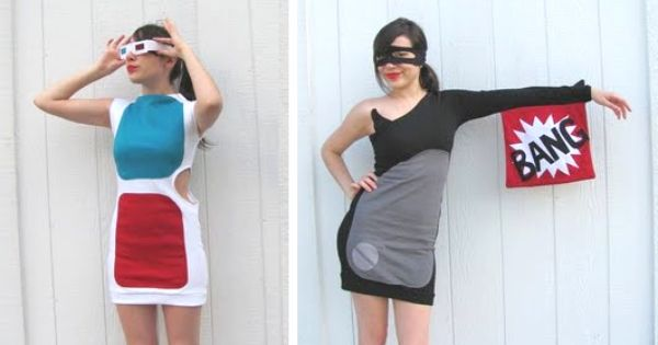 """BANG!"" and 3d glasses dresses (link has DIY costume ideas!)"