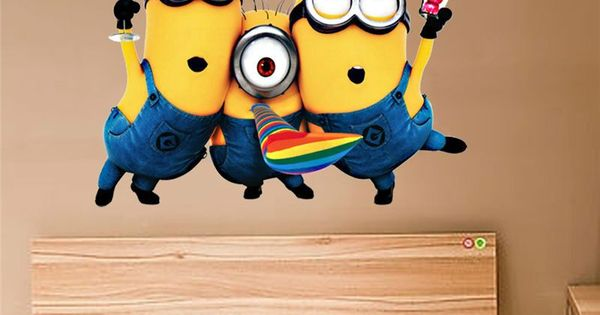 Despicable me 2 cute minions wall stickers for kids rooms for Autocollant mural walmart