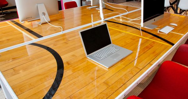 The Origin Workstation Is Made With Reclaimed Gym Flooring