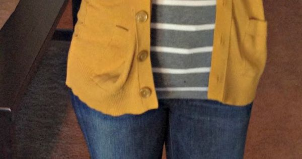 mustard yellow cardigan with mixed prints... I'm not usually into this shade