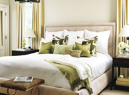 tan & green bedroom design...love the color scheme here