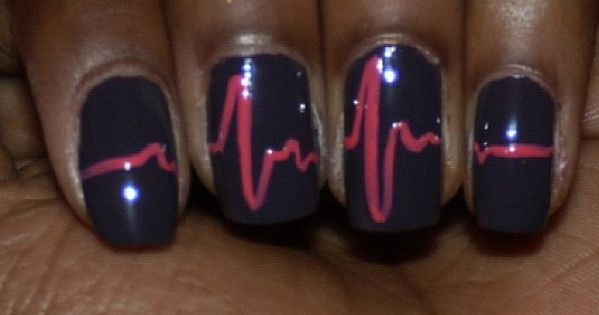 Heart beat nail design for lady docs