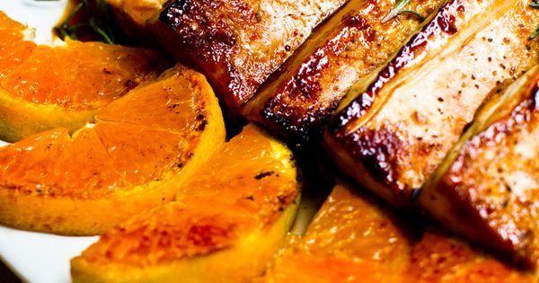 Citrus-Tamari Tofu Steaks with Warm Satsumas Rosemary thanksgiving holiday vegan