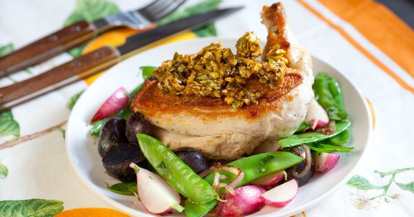 Chicken & Snow Pea-Radish Sauté with Candied Pistachios | Recipe ...