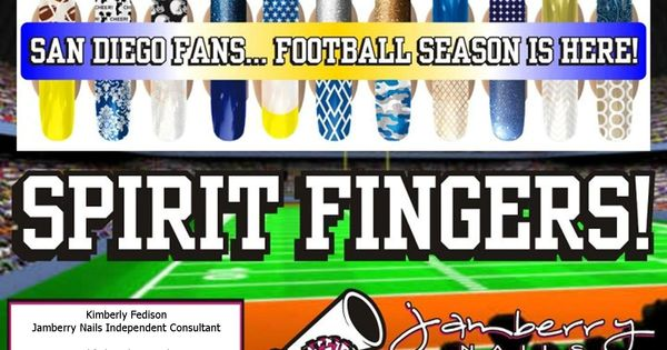 Chargers Sandiego Football Fan Nail Art Jamberry