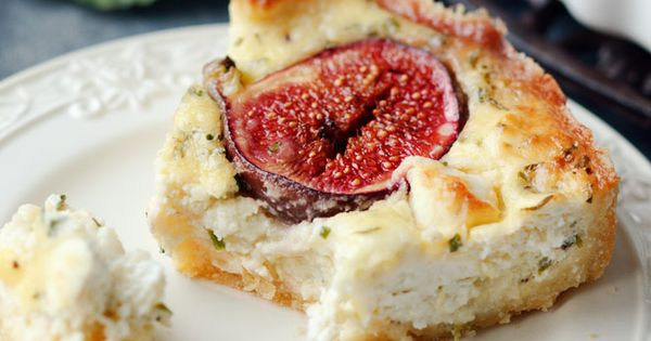 Quiche with figs, goat cheese and thyme France Food