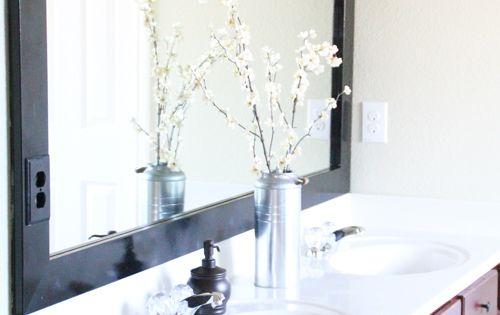 DIY Cheap and Easy Bathroom Mirror Frame