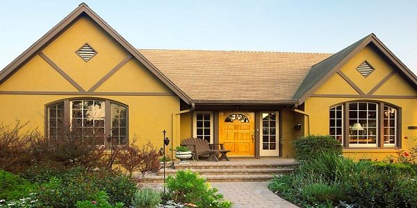 House Paint Exterior Color Combinations With Mustard Yellow And Br Exterior House Paint Color Combinations Exterior Paint Colors For House House Paint Exterior