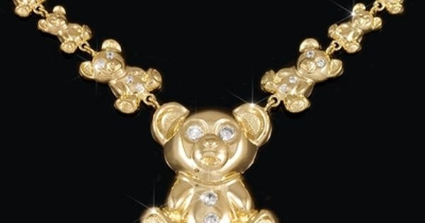 Teddy Bear Necklace Chain 10kt Gold Xoxo Hugs And Kisses Stampado Style G499216s Xoxo Necklace Bear Necklace Jewelry
