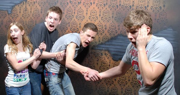 Scared Bros At A Haunted House These hidden camera shots from Nightmares Fear