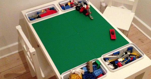 sofabord + 4 legoplader + 4 bøtter fra ikea = ungernes ...