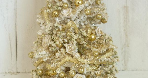 Elegant White And Gold Christmas Tree Dollhouse Miniature