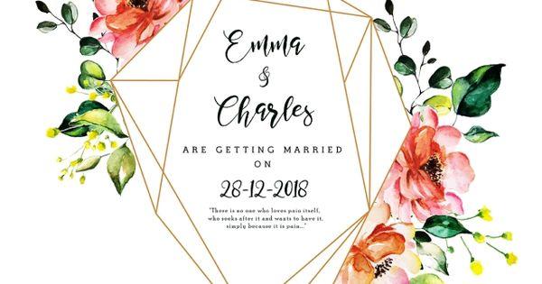 جميلة ألوان مائية الزهور زفاف بطاقة دعوة الزهور المرسومة تاريخ سعيدة Png والمتجهات للتحميل مجانا Floral Wedding Invitation Card Watercolor Floral Wedding Invitations Wedding Invitation Cards