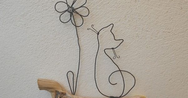 Chat et fleur d coration poser ou murale bois naturel for Decoration murale gourmandise