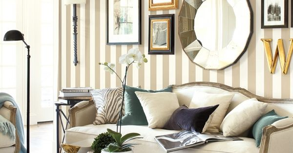 Wallpaper ideas and inspiration striped wallpaper for Striped wallpaper living room ideas