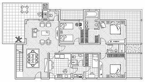 Plan D Une Maison Individuelle 3 Fichier Autocad A Telecharger Dwg Plan Dune Maison Maison Individuelle Plan De Maison