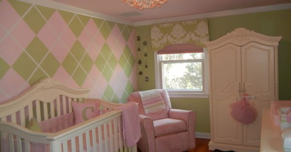 Baby Girl Nursery - Argyle wall!