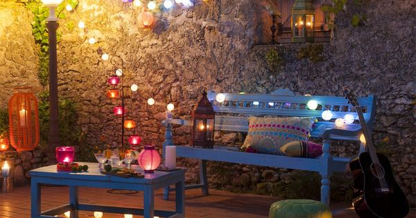 atmosph re d 39 t banquette d 39 ext rieur bois bleu turquoise bengalore et d co maisons du monde. Black Bedroom Furniture Sets. Home Design Ideas