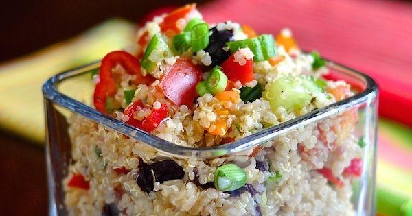 MEDITERRANEAN QUINOA SALAD: Bring 1 cup quinoa to a boil over low