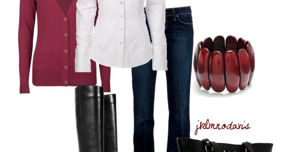 """Deep Red & Black"" by jklmnodavis on Polyvore Berry, white, dark jeans,"