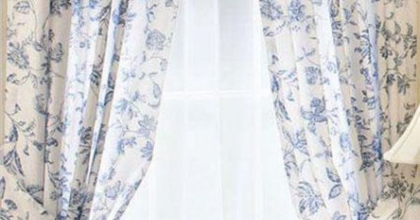 Brighton Blue White Toile Window Curtain French Panel