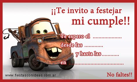Tarjeta De Cumpleaños De Mate Cars Tarjetas De Cumpleaños