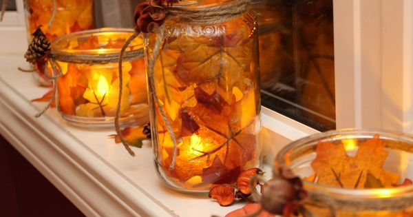 how to make fall mason jar lanterns /v