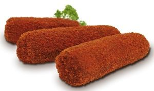 The Dutch kroket is typically cylindrical in shape and filled with a meat ragout most commonly using beef beef broth flour butter or margarine onions herbs and it epitomizes textural contrast.