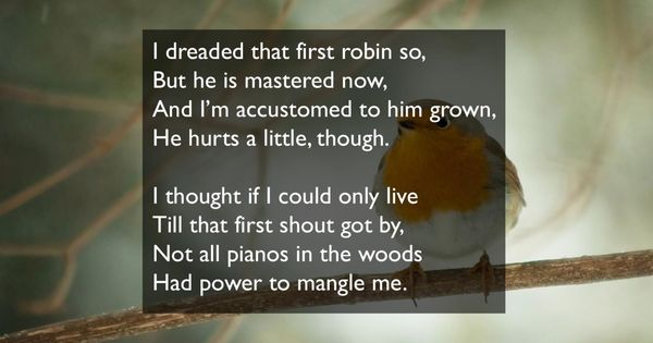 dickinson s i dreaded that first robin Dear for 10 minutes read and annotate emily dickinson's poem i dreaded that first robin so answer twelve questions on the text (these are multiple-choice questions with the answers blanked out.