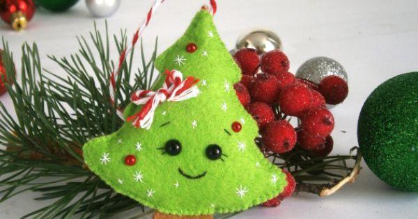 D corations de no l en feutrine cadeau de nouvel an d coration sapin de no l ornement sapin de - Variete de sapin d ornement ...