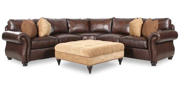 Bernhardt Van Gogh Two Piece Leather Sectional With Square