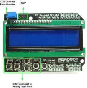 Arduino lcd keypad shield (sku: dfr0009) robot wiki   lcd keypad.