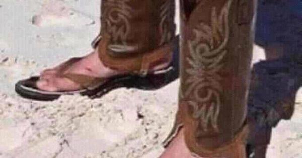 Cowboy Boot Flip Flops Too Funny Pinterest Cowboy