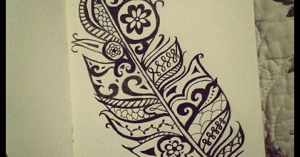 Henna Tattoo Richmond Va : Henna feather my black and white drawings pinterest