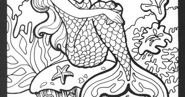 Realistic Mermaid Coloring Pages Hard Mermaids Colouring