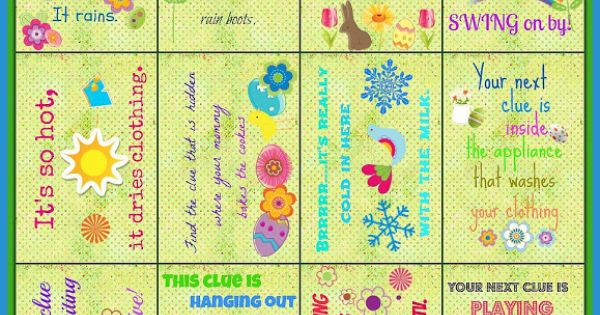 Easter hunt clues easter crafts ideas
