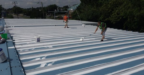 We Waterproof Commercial Metal And Flat Roof Buildings The Cost Is Half Of Replacement And Gives 20 More Years Of Life Roof Shingles Roofing Roof Architecture