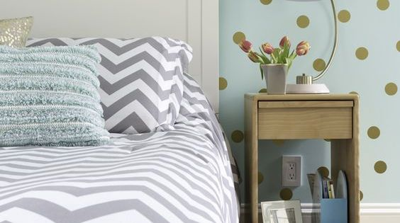 Girl S Bedroom In Aqua Gray White And Gold Color Palette